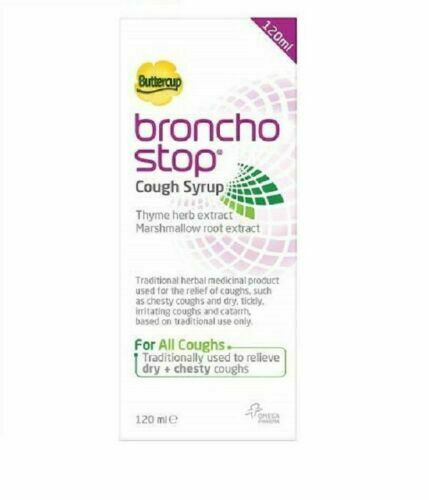 Bronchostop Buttercup Cough Syrup -120ml Relieves Dry And Chesty Coughs