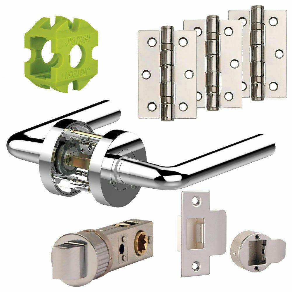 Jigtech RIVA New Door Handles Pack Hinge - Latch Pack Polished - Satin Chrome j