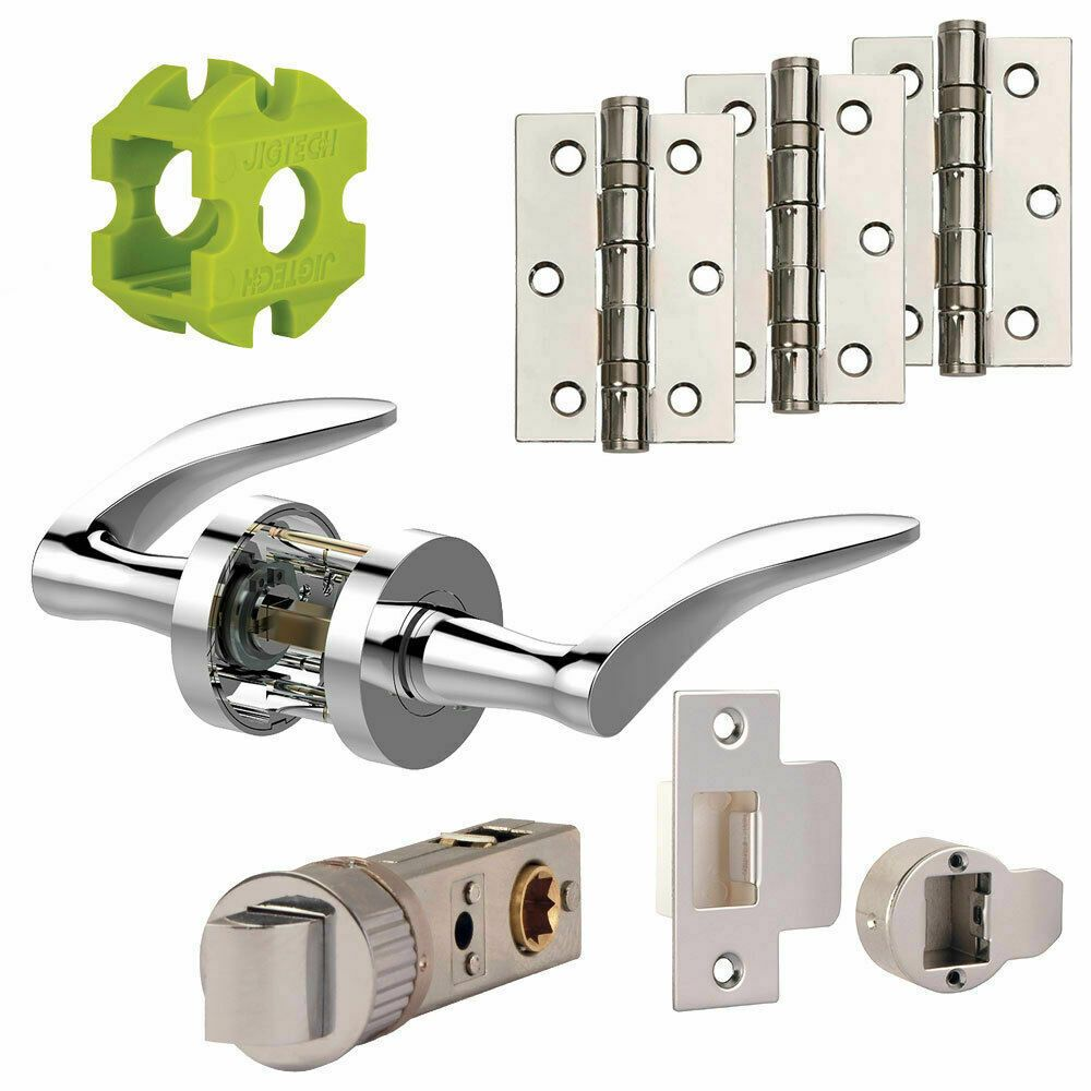 Jigtech Vecta Door Handles Pack Hinge and Latch Pack Polished and Satin Chrome