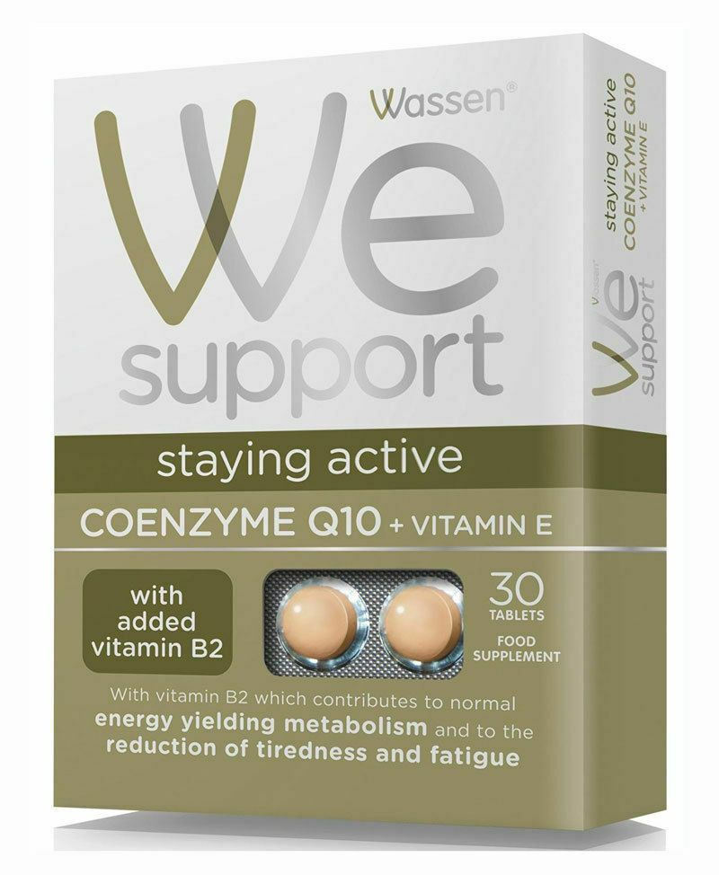 Wassen We Support Staying Active Coenzyme Q10 + Vitamin E Pack of 30 Tablets